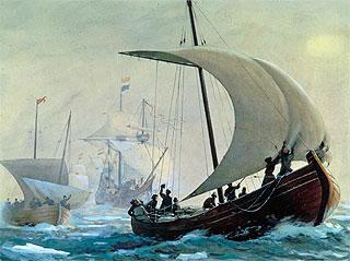 Художник В. Голицын. Русское поморское судно XVI века.