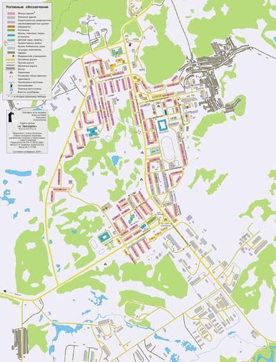 Заозёрск, карта-схема 1:10 000